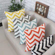 Ripple Chevron Zig Wave Linen Cotton Cushion Cover Home Decor Throw Pillow New