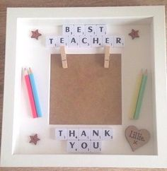 Personalised Scrabble photo Frame Teacher School Nursery Thank You Keepsake