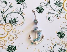 SALE--Belly Ring, Silver Nautical Ship Anchor with Blue Crystals on Chain, Belly Button Jewelry, For Her