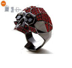3.90 CT Red Garnet & Round Black CZ B/Gold Gp 925 Silver Men's Biker Skull Ring #Silvergemsjewelry #MensBikerSkullRing