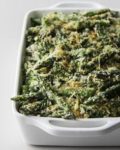 Parmesan Cheese Sauce Covered Asparagus Finished with Seasoned Bread Crumbs and Parmesan Cheese