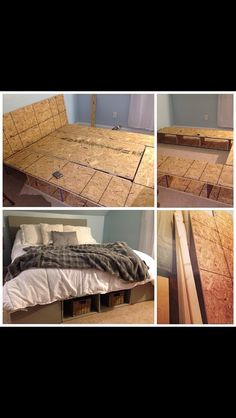 A DYI queen platform bed with storage I did. All the instructions are at (… Diy Platform Bed Frame, Platform Bed With Storage, Queen Platform Bed, Diy Bed Frame, Bed Frames, Bedroom Art, Bedroom Ideas, Hygge Home, Diy House Projects