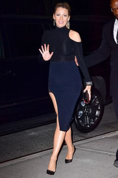 See all of Blake Lively's pregnancy style: navy and black cut outs