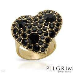 ★ Item Condition: Brand New ★ Pilgrim Skanderborg, Denmark Heart ring with genuine black crystals beautifully designed in yellow metal Heart Shaped Rings, Heart Ring, Pilgrim Jewellery, Designer Jewelry Brands, Crystal Shapes, Black Crystals, Jewelry Branding, Jewelry Stores, Heart Shapes