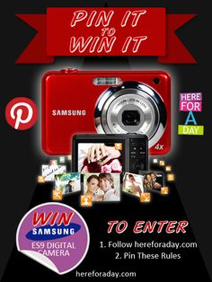 NEW Pin It To Win It! Simply follow hereforaday.com on Pinterest and pin these rules to be in with a chance to win a Samsung Digital Camera! If you already follow us then all you have to do is pin this image...it couldn't be easier! Good Luck!