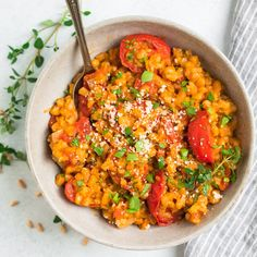 This tomato farro risotto (farrotto) is hearty, creamy, and bursting with vegetables, herbs, and Parmesan! NO STIR METHOD makes this recipe easy and perfect for healthy meals! Farro Recipes, Gourmet Recipes, Vegetarian Recipes, Cooking Recipes, Dinner Side Dishes, Dinner Sides, Quinoa, My Favorite Food, Favorite Recipes