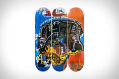 View this item and discover similar for sale at - Basquiat Skull Skateboard Decks (set of A triptych of 3 individual skate decks licensed by the Estate of Jean Michel Basquiat (image: Basquiat, Untitled Jean Michel Basquiat, New York City, Skateboard Deck Art, Graffiti Tagging, Skate Decks, Nyc, Triptych, Street Artists, New York