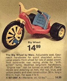 The Big Wheel— item on my Christmas list in My Childhood Memories, Childhood Toys, Vintage Games, Vintage Toys, Old Commercials, Big Wheel, Oldies But Goodies, Powder Puff, Old Ads