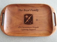 Serving tray with family name, unit name and patch. Army Gifts, Military Gifts, Military Spouse, Army Family, Volunteer Gifts, Welcome Letters, Going Away Gifts, Farewell Gifts, Welcome To The Party