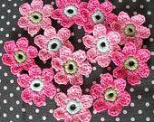 12 x Crochet Flowers, Handmade Crochet Embellishment, Small Crochet Flowers, two shade of pink aqua and green, Appliques - set of 12