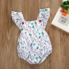 Toddler Baby Girls Bodysuit Short-Sleeve Onesie Creative Personage Print Outfit Spring Pajamas