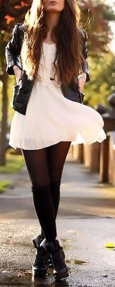 Great match, love the contrast between the leather motor jacket and boots with the girly charm of the chiffon dress.