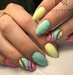 Pastel polish with dots in a wave nail art design. Love Nails, Pretty Nails, My Nails, Spring Nails, Summer Nails, Nails Yellow, Gel Nails French, Geometric Nail, Nagel Gel
