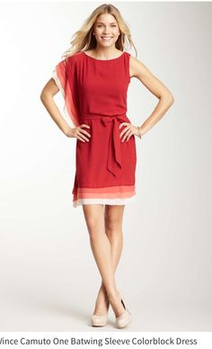 I want this dress! Vince Camuto One Batwing Sleeve Colorblock Dress
