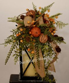 Fall Lantern Swag with Burlap by TheRustyHeart on Etsy Fall Lanterns, Lanterns Decor, Decorative Lanterns, Lantern Centerpieces, Centerpiece Decorations, Fall Decorations, Thanksgiving Tree, Thanksgiving Centerpieces, Fall Crafts