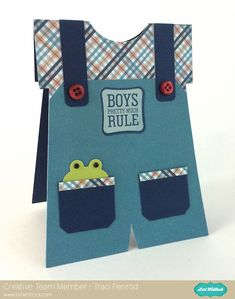 Lori Whitlock Baby Boy Overall card by Traci Penrod.    Link up your boy/masculine projects for a chance to win $15 to Lori's Shop!