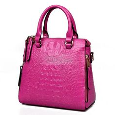 Vertical Square Crocodile Grain Handbag