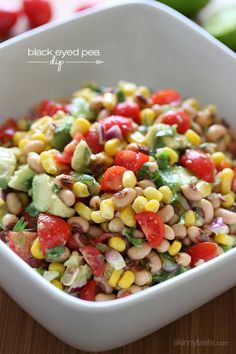 Ring in the New Year with this easy, healthy black eyed pea salad/dip Healthy Beans, Healthy Recipes, Healthy Snacks, Vegetarian Recipes, Healthy Eating, Cooking Recipes, Dip Recipes, Recipies, Black Eyed Pea Dip
