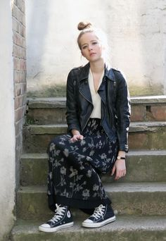 Leather jacket, maxi skirt and converse