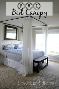 Want romance in the bedroom? Well make one of these dreamy DIY canopy bed ideas, and you've got it! (A romantic BEDROOM, that is! Canopy Bed Diy, Home Projects, Home Bedroom, Bedroom Design, Bedroom Diy, Home Decor, Chic Bedroom, Remodel Bedroom, Country Cottage Furniture