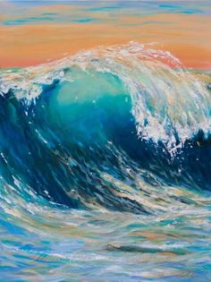 Buy Curl at Sunset, a Acrylic on Canvas by Linda Olsen from United States. It portrays: Beach, relevant to: beach, shore, sunset, wave, ocean Acrylic painting on canvas to express the fluid beauty of a wave.