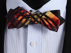 JC402N Orange Black Check Silk Men Diamond Point Tip Self Bow Tie Pocket Square Handkerchief Hanky Suit Set