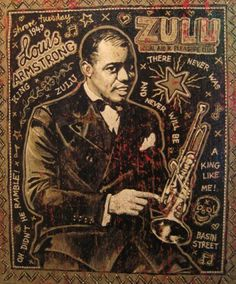 Louis Armstrong by the Mekons' Jon Langford Vintage Images, Vintage Posters, New Orleans Mardi Gras, New Orleans Louisiana, Louis Armstrong, Blues Music, Oui Oui, Cool Posters, Cartoon Drawings