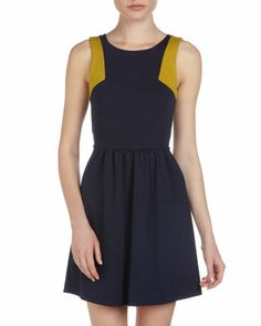Two-Tone Bow-Back Dress, Navy/Mustard by Casual Couture at Last Call by Neiman Marcus.