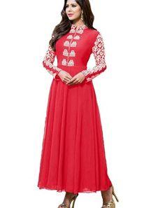 Red Georgette Embroidered Designer Salwar Suit
