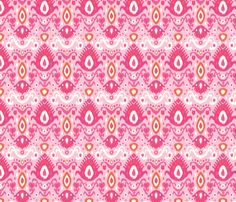 Pink and Coral Ikat fabric by jenniferstuartdesign on Spoonflower - custom fabric