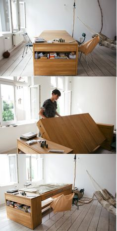 """Workbed"" is a multifunctional desk that can be flipped over to reveal a bed. Or it could be used as a guest bed."