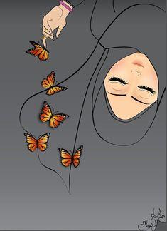 Wallpaper Hp, Cute Girl Wallpaper, Islamic Wallpaper, Cartoon Wallpaper, Girl Cartoon, Cartoon Art, Hijab Drawing, Islamic Cartoon, Anime Muslim