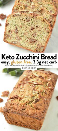 Keto zucchini bread with almond flour - Sweetashoney Keto zucchini bread with almond flour - Sweetashoney KETO ZUCCHINI BREAD with almond flour, gluten free Sugar Free Zucchini Bread, Zucchini Bread Recipes, Zucchini Fries, Low Carb Zuchinni Bread, Healthy Zucchini Bread, Healthy Breads, Keto Foods, Keto Recipes, Protein Recipes