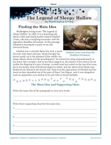 http://StudentsreadapassagefromTheLegendofSleepyHollowandwritethemainideaandsupportingideas.