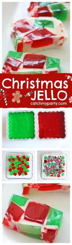 This Christmas Jello dessert is the perfect treat to make your family. It's easy and fun! See more holiday party ideas at http://CatchMyParty.com.