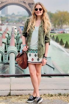 Jacket + tennis shoes with skirt!