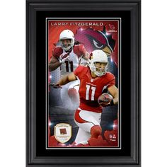 Larry Fitzgerald Arizona Cardinals Fanatics Authentic Vertical Framed Photograph with Piece of Game-Used Football - Limited Edition of 250