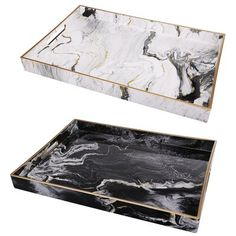 Featuring the classic look of marble accented with gold, this set of two Quinn Rectangular Trays provides modern flair. Ideal for serving appetizers or cocktails at a lavish event or for organizing daily Ottoman Tray, Black White Gold, Outdoor Lounge Furniture, Tray Decor, Baby Shop, Cleaning Wipes, Baby Shower Gifts, Decorative Pillows, Diy Home Decor