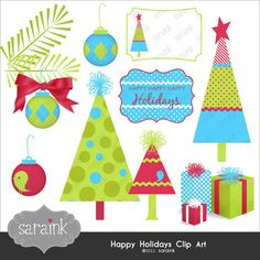 Christmas Clipart Instant Download - Trees, Ornaments & More in cute digital clip art for Personal and Commercial Use Christmas Graphics, Christmas Clipart, Christmas Printables, Christmas Art, Christmas Decorations, Christmas Ornaments, Xmas, Illustration Noel, Illustrations
