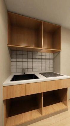 Modern Kitchen Design, Bathroom Interior, Interior Design Living Room, Small Studio Apartment Design, Home Room Design, Home Decor Furniture, Furniture Design, Kitchen Layout Plans, Cuisines Design