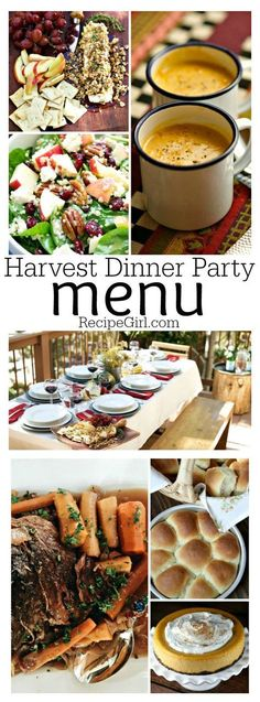 Dinner Party Menu - Recipe Girl Harvest Dinner Party Menu: complete menu with recipes and decor idea included.Harvest Dinner Party Menu: complete menu with recipes and decor idea included. Birthday Dinner Menu, Dinner Party Menu, Dinner Themes, Birthday Dinners, Fall Dinner Parties, Dinner Table, Themed Dinner Parties, Dinner Ideas For Guests, Dinner Party Main Course
