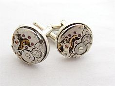 Wedding cufflinks – Watch movements – Steampunk – Cuff Links -Repurposed – Top Sellers – Up cycled – Handcrafted Jewelry Steampunk Wedding Themes, Victorian Wedding Themes, Vintage Cufflinks, Wedding Cufflinks, Wedding Pins, Wedding Ring Bands, Wedding Ideas, Punk Jewelry, Vintage Watches