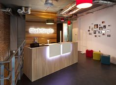 Made Simple Group Office Design - our logo bottom on the reception desk, and top on the wall behind. Lit up? Small Reception Desk, Reception Desk Design, Reception Counter, Store Interiors, Office Interiors, Autocad, Ikea, Modern Store, Cool Office