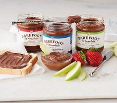 Barefoot & Chocolate (3) Jars Gourmet Chocolate Nut Spreads