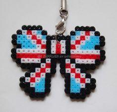 "Butterfly Charm Strap Mascot 2""Wx1.5""H - Perler Sprite Beads Hand Craft Art"
