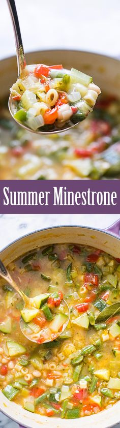 Minestrone soup featuring fresh summer garden vegetables! With zucchini, tomatoes, green beans, celery, bell pepper, chicken stock, white beans, and pasta. It's summer in a soup!