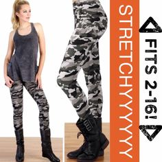 GREY CAMO LEGGINGS! FITS SIZES 2-16! Super stretchy, grey camouflage leggings in fabulous micro fiber polyester and spandex. Very soft. Made in USAPLEASE DO NOT BUY THIS LISTING, I will personalize one for you. tla2 Pants Leggings