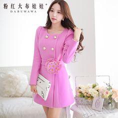 Barato Boneca rosa casaco de lã de inverno seções longas de rebite tridimensional flores magro casaco de lã, Compro Qualidade Jaquetas Básicas diretamente de fornecedores da China:                     52.4% 47.6%       :94.8%5.2%                           Cm