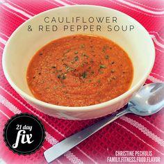 21 Day Fix soup -- Cauliflower & Red Pepper Soup