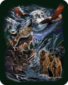 #bedding Regal Comfort 7 #Hidden Wolves & Wildlife Polyester Blanket